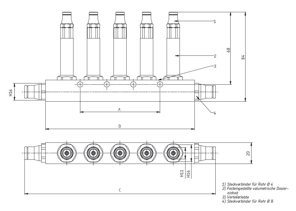 Kolbenverteiler LS22 Abmessungen