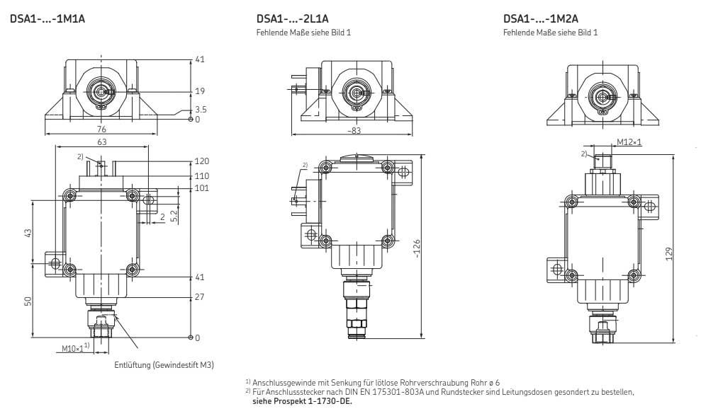 Druckschalter DSA Zeichnungen