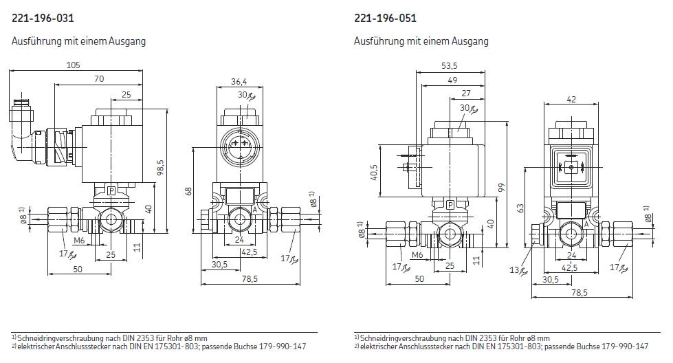 2/2-Wegeventile Druckluft Abmessungen
