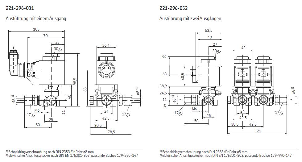 3/2-Wegeventile Druckluft Abmessungen