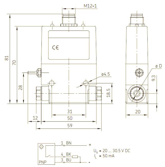 Maßblatt / Schaltbild Schlierensensoren GS4011 / GS6011