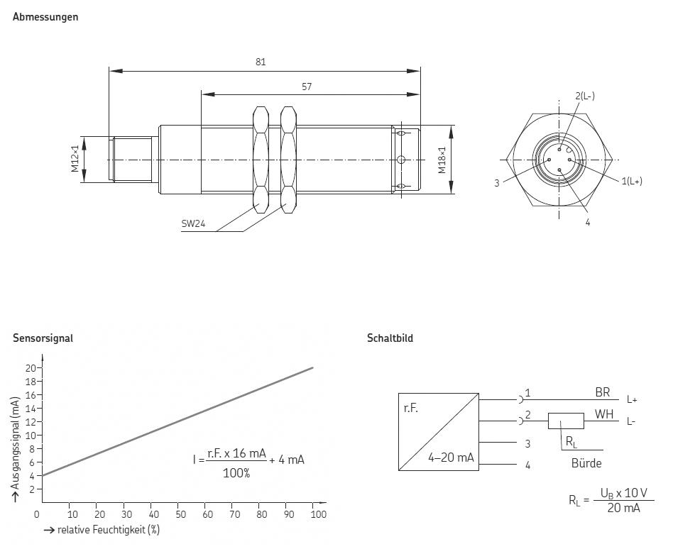Feuchtigkeitssensor FS-1 Abmessungen, Sensorsignal, Schaltbild