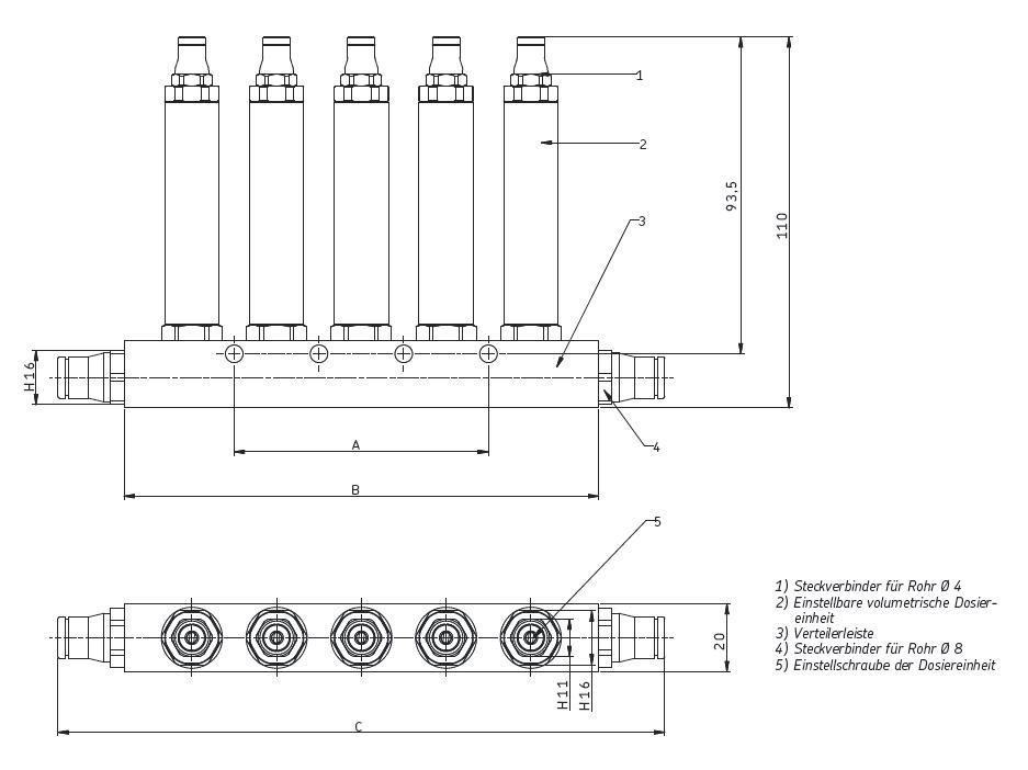 Kolbenverteiler LS21 Abmessungen